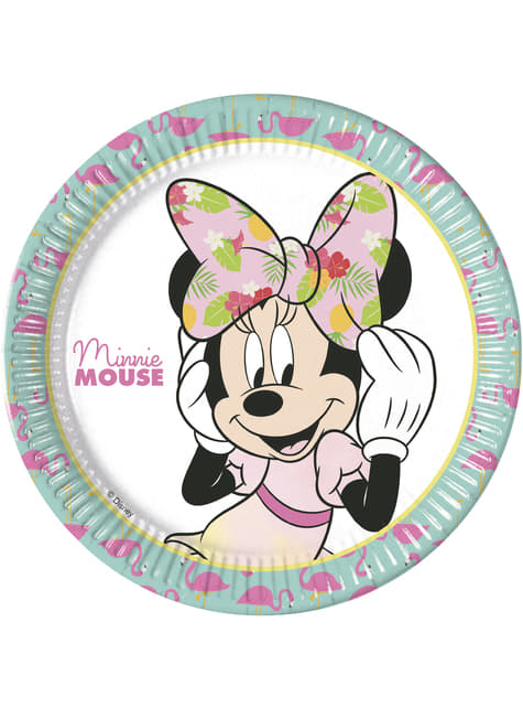 8 platos grandes Minnie Mouse (23cm) - Minnie Tropical