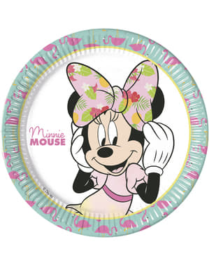 8 big Minnie Mouse plates (23cm) - Minnie Tropical