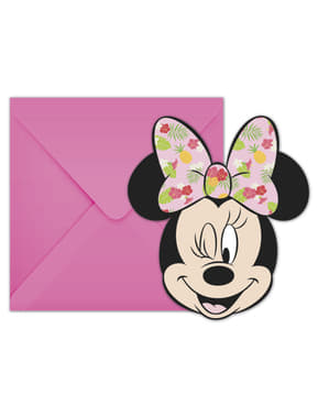 6 convites Minnie Mouse - Minnie Tropical