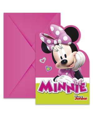 6 Minnie Mouse Junior uitnodigingen