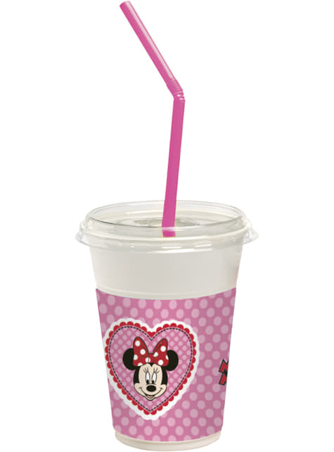 12 vasos con tapa y pajita Minnie Mouse Junior