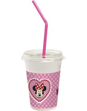 12 vasos con tapa y pajita Minnie Mouse Junior