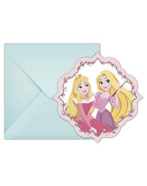 6 inbjudningskort Disneyprinsessor