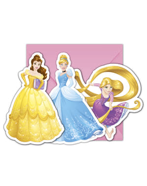 6 inbjudningskort Disneyprinsessor Heartstrong