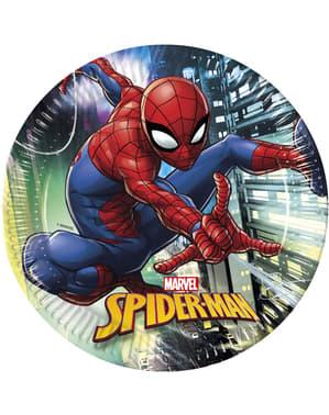 Sett med 8 store Spiderman tallerkener
