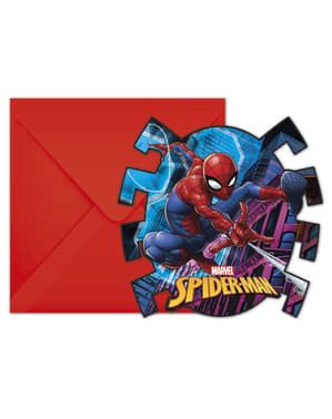 Sett med 6 Spiderman invitasjoner