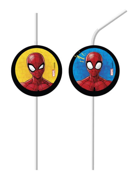 6 pajitas Spiderman