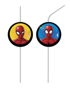 Sett med 6 Spiderman sugerør