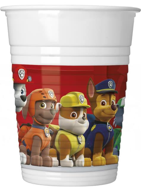 8 vasos Patrulla Canina de plástico