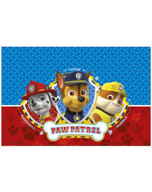 Blue and red Paw Patrol table cloth