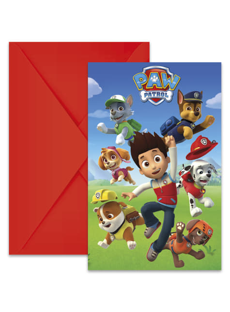 Set of 6 Paw Patrol invitations
