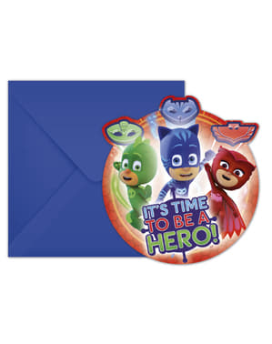 6 circular Pj Masks invitations