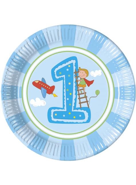 8 big Boy's First Birthday plates (23 cm)