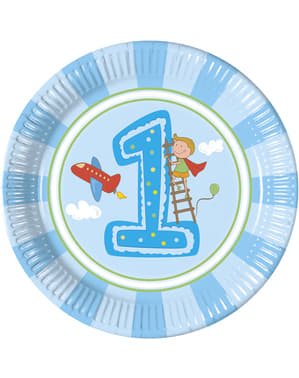 8 grandes assiettes Boy's First Birthday