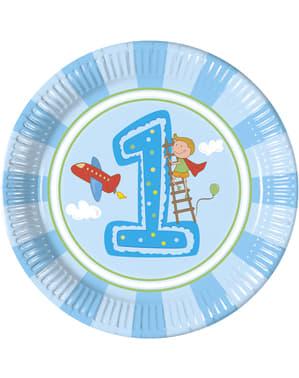 Sæt af 8 store drengens første fødselsdags tallerkner