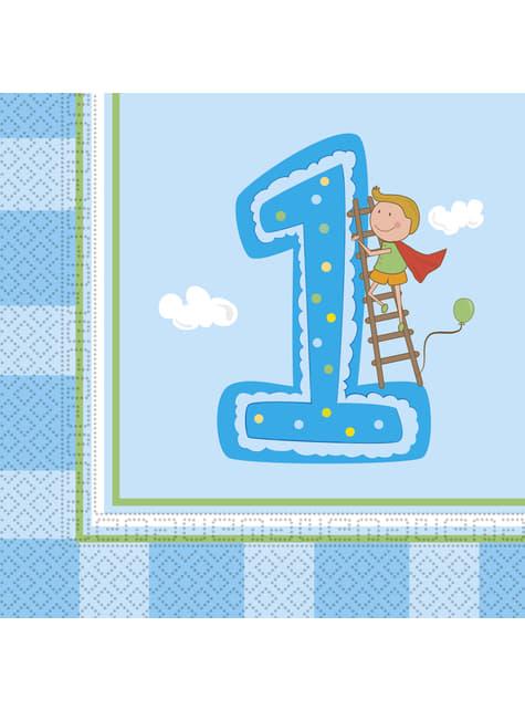 20 Serviettes en papier Boy's First Birthday