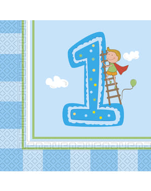 20 Boy's First Birthday napkings (33x33 cm)