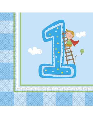 Sett med 20 Guttens Første Bursdag servietter