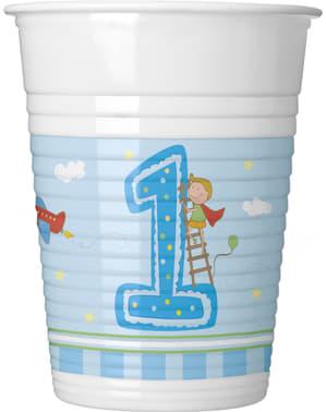 Sett med 8 Guttens Første Bursdag kopper