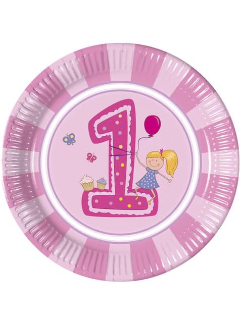 8 platos Girl's First Birthday (23 cm)