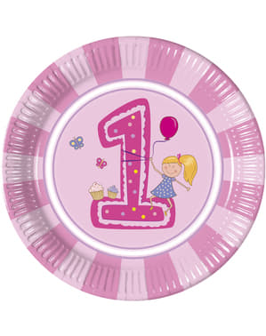 8 grandes assiettes Girl's First Birthday