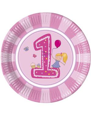 Sæt af 8 store pigens første fødselsdags tallerkner