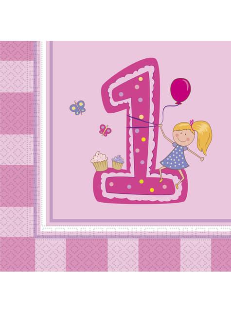 20 Girl's First Birthday napkings (33x33 cm)