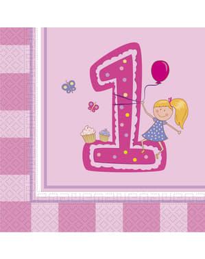 20 Eerste Verjaardag Meisje servetten (33x33 cm)