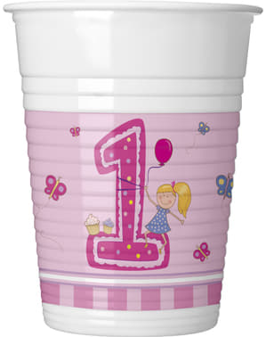 8 Girl's First Birthday cups