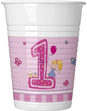 Sett med 8 Jentas Første Bursdag kopper