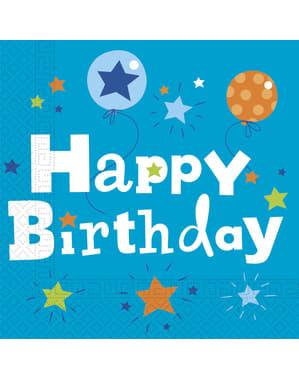 20 guardanapos Happy Birthday Boy (33x33 cm)