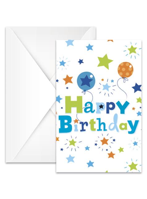 Conjunto de 6 convites Happy Birthday Boy