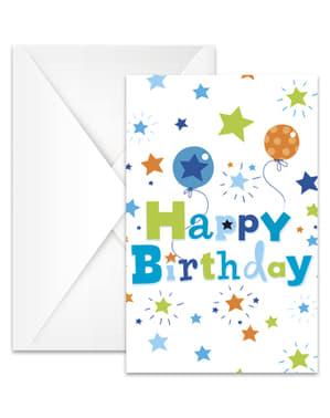 6 inbjudningskort Happy Birthday Boy