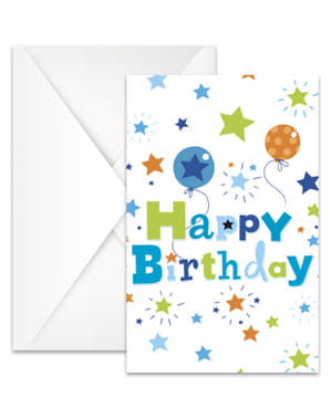Sæt af 6 fødselsdags dreng invitationer