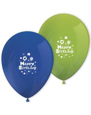 8 ballons Happy Birthday Boy