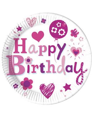 8 platos Happy Birthday Girl (23 cm)