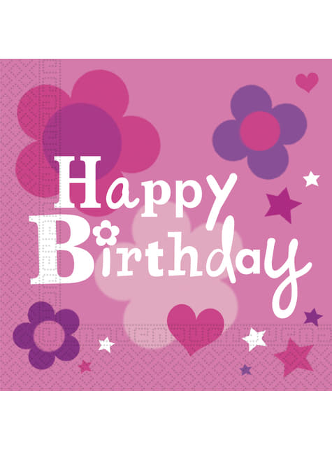 20 servilletas Happy Birthday Girl (33x33 cm)
