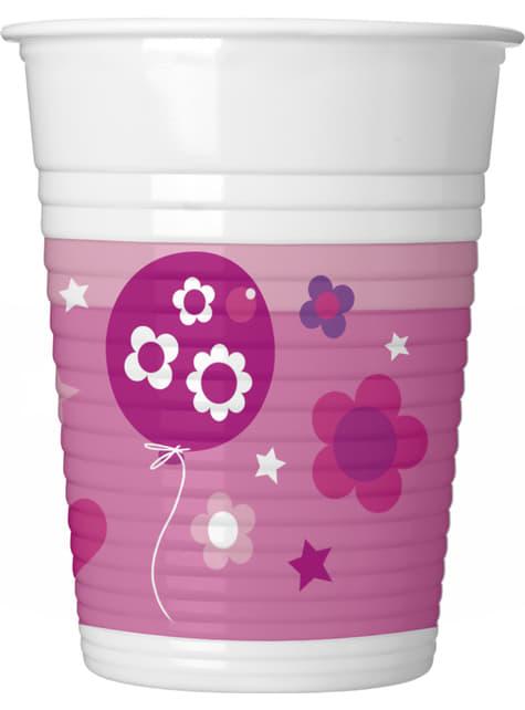 8 vasos Happy Birthday Girl