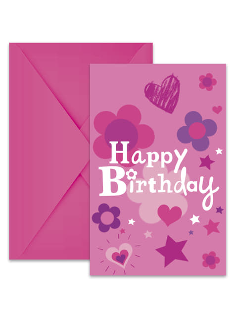 6 invitations Happy Birthday Girl
