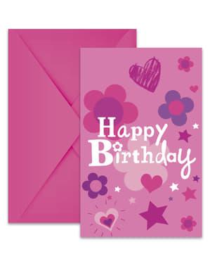 Sæt af 6 fødselsdags pige invitationer