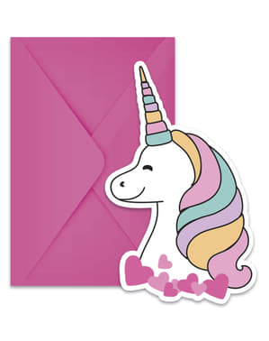 6 Προσκλήσεις Unicorn - Magic Party