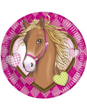 8 grandes assiettes Horses