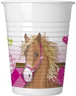 8 gobelets Horses