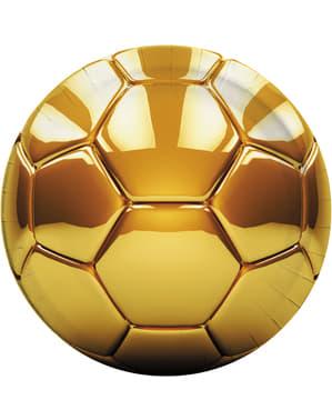 8 pratos de futebol dourados (23cm) - Football gold