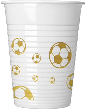 8 Football Gold plastic cups