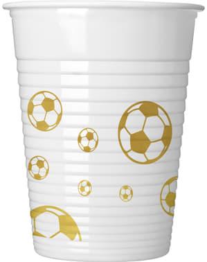 Zestaw 8 plastikowych kubków Football Gold