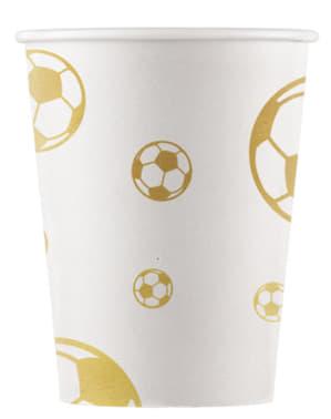 Zestaw 8 papierowych kubeczków Football Gold