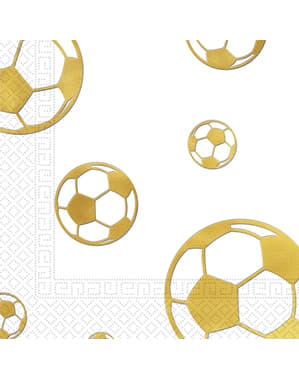 20 Serviettes en papier Football Gold