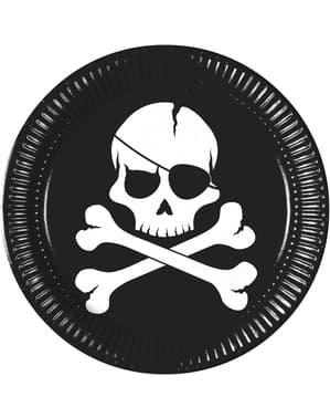 סט 8 צלחות שחורות שודדים גדולות