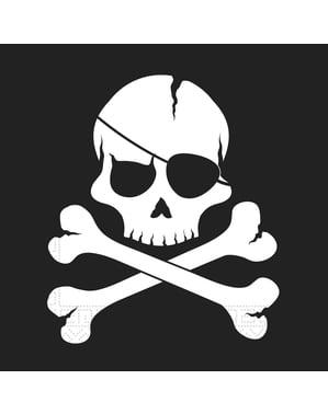 Sæt af 20 sorte pirat servietter